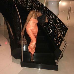 """Sherbert"" orange, ruched bodycon dress"